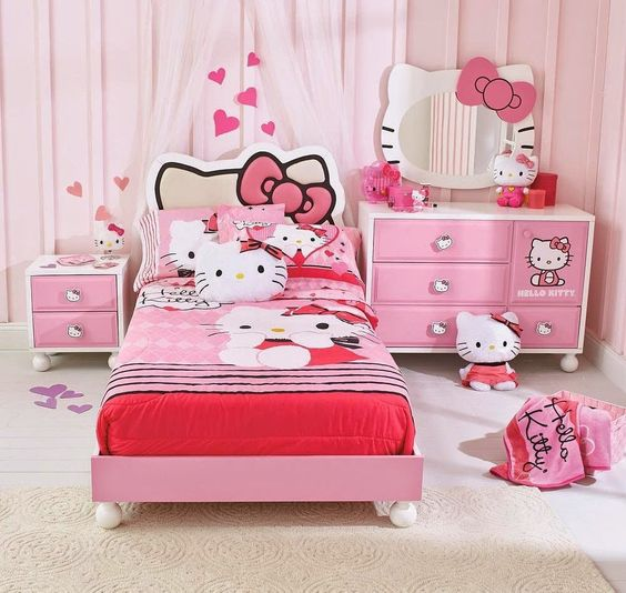 Preciosas habitaciones infantiles decoradas con hello kitty for Habitaciones decoradas para ninas