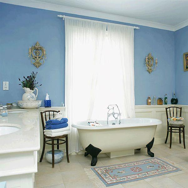 Relajantes cuartos de ba o decorados en color azul - Banos de contraste ...