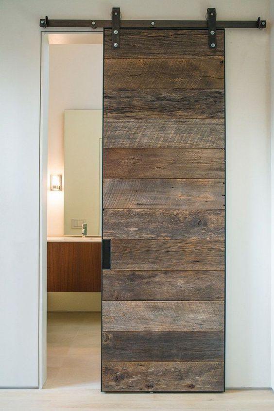 Puertas tipo granero para interior for Puertas madera rusticas interior