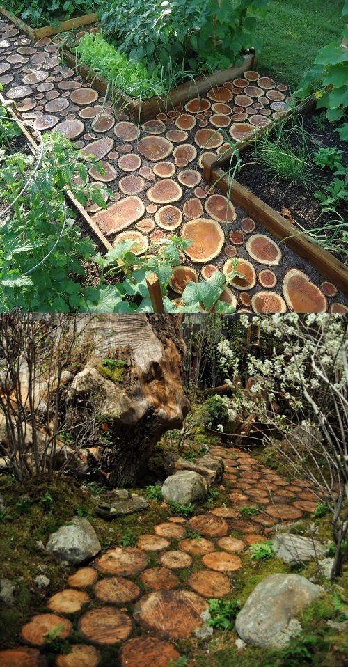Preciosas ideas de caminos de jard n con madera for Arboles decorativos para jardin