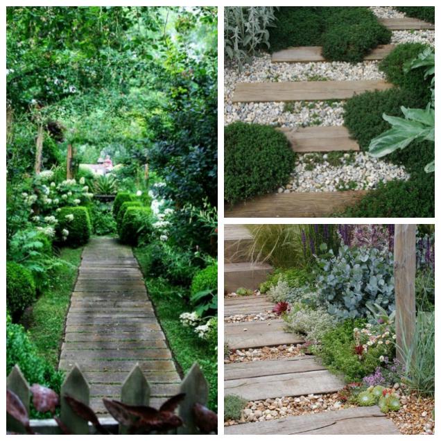 Preciosas ideas de caminos de jard n con madera - Poner baldosas suelo ...