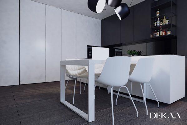 Atractivos comedores en blanco y negro for Sillas blancas para comedor