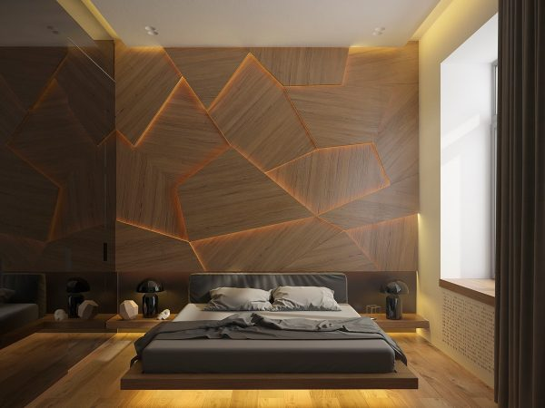 aqu se combinan el diseo de la veta natural de la madera con irregulares formas geomtricas y la textura que aporta la instalacin a varios niveles de las