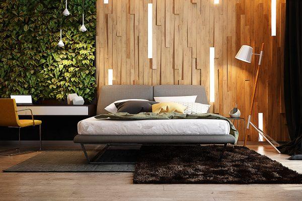 listones de madera en vertical y a varios niveles para conseguir un aspecto natural en un ambiente muy actual