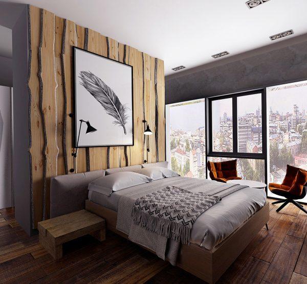 genial panelado con lonchas verticales de tronco y finas tiras de led para un dormitorio en la montaa - Decorar Paredes Con Madera