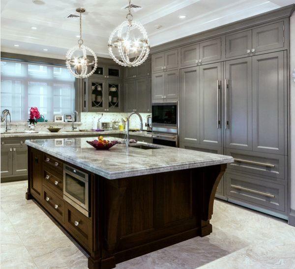 Armarios en color gris para tener una cocina elegante for Encimera marmol gris