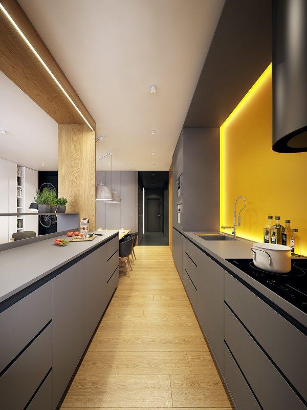 Ten un moderno mueble de cocina en color gris