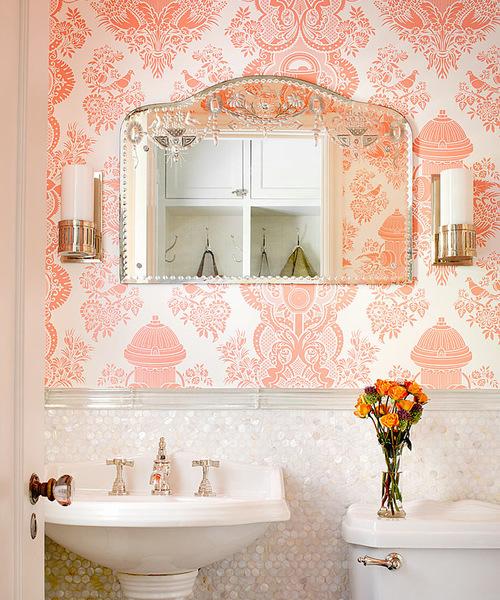 Cuartos de ba o con papel pintado que sorprenden - Papel decorativo para banos ...