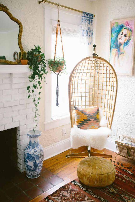 20 sillas colgantes de mimbre for Sillas colgantes para jardin
