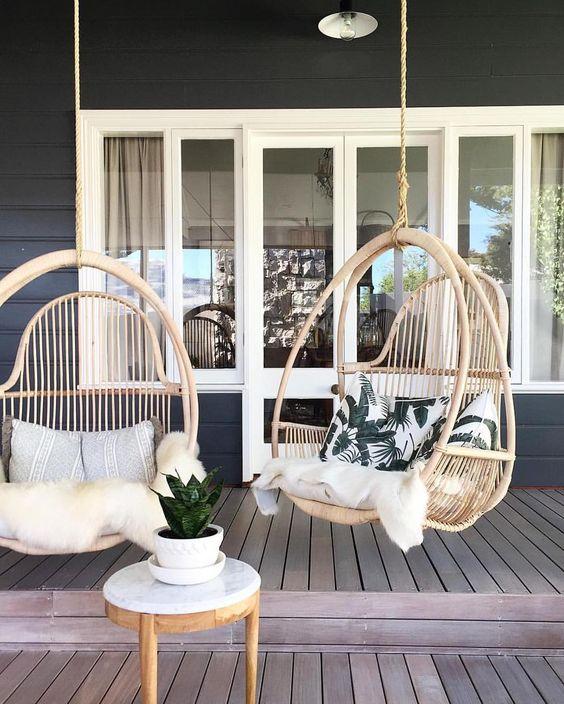 20 sillas colgantes de mimbre - Sillas de porche ...