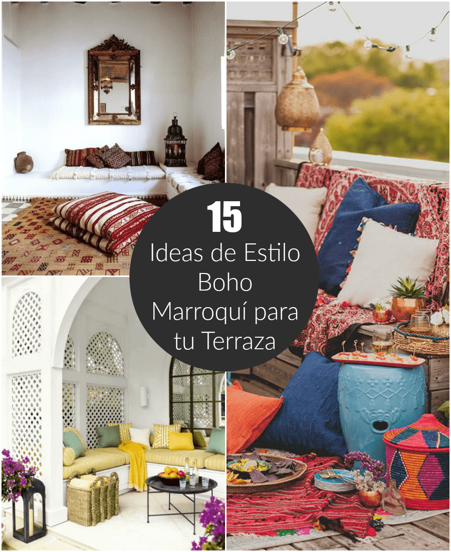15 ideas para decorar tu terraza en estilo boho marroqu - Ideas para decorar una terraza ...
