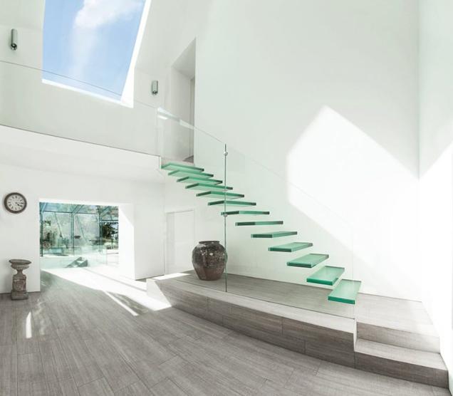 Escaleras Con Barandillas De Cristal - Escaleras-de-cristal-y-madera