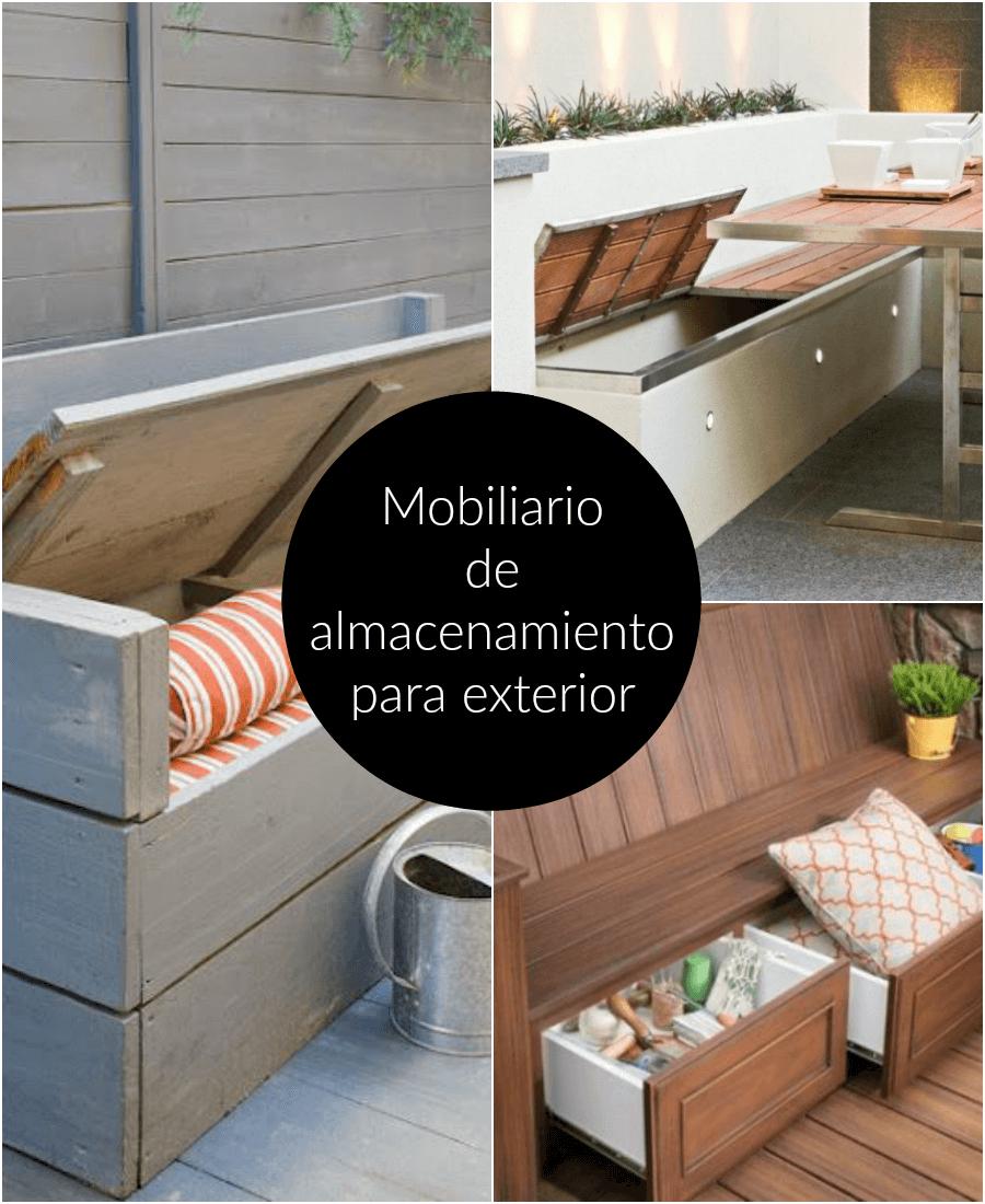 Mobiliario de almacenamiento para exterior for Bancos de terraza y jardin