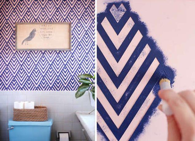 13 maneras de decorar las paredes del ba o - Plantillas para dibujar en la pared ...