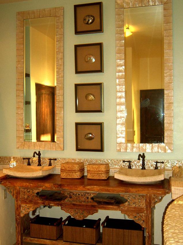 para este bao de estilo bali es difcil imaginar un mueble de lavabo mejor que esta mesa bellamente tallada unos breves lavabos de piedra y una grifera a - Lavabos Originales