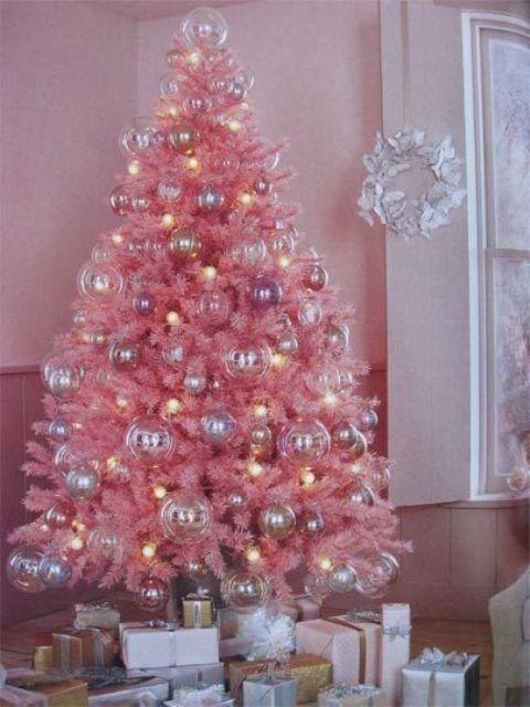 Arboles De Navidad En Color Rosa Muy Original - Arboles-de-navidad-dorados