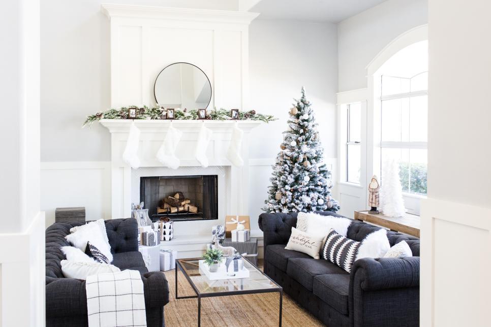 Decoraci n navide a combinando detalles en blanco y negro for Decoraciones para navidad interiores