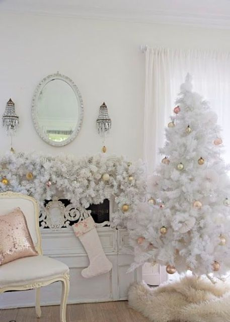 Ideas para decorar un rbol de navidad blanco - Arbol navideno blanco decorado ...