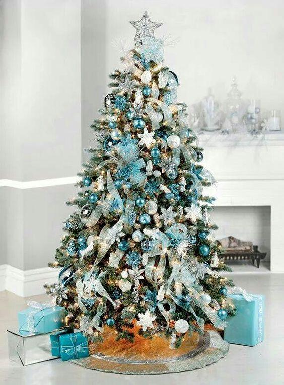 Decora tu hogar por navidad en color turquesa - Como se decora un arbol de navidad ...