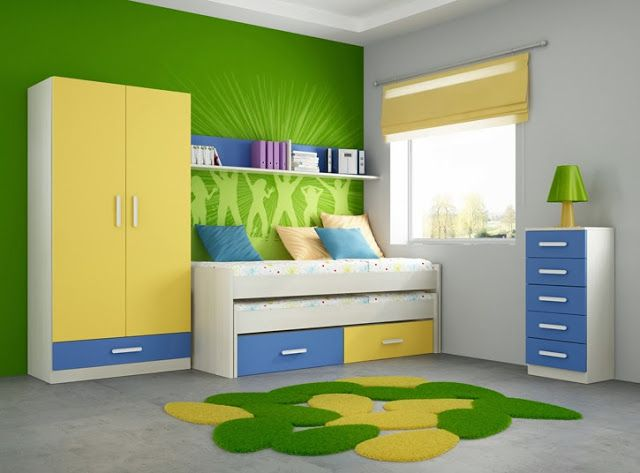 Decora el dormitorio de los ni os en verde y amarillo for Decoracion de interiores verde