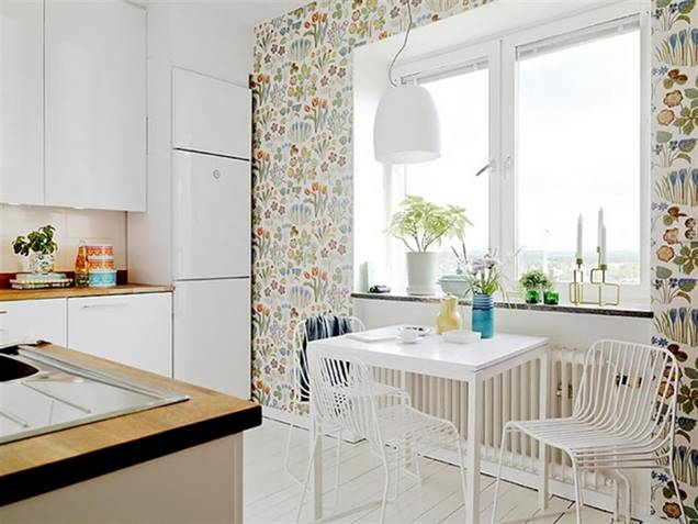 La nueva tendencia papel pintado con motivos florales en - Papel pintado en cocina ...