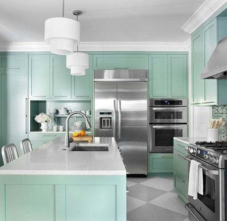 Decora y endulza tu cocina con colores pasteles - Cocina verde agua ...