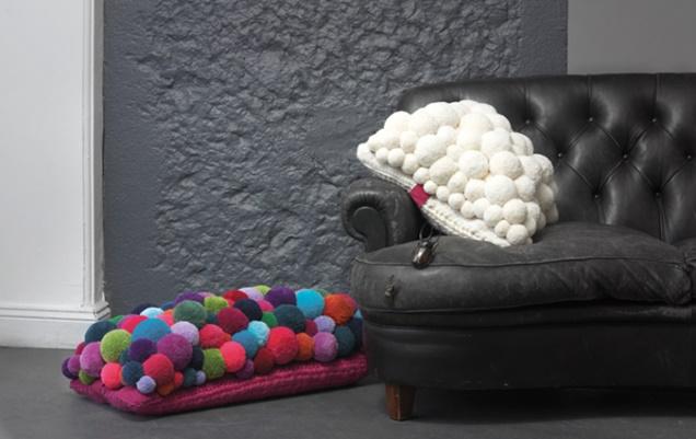 Pompones de lana para decorar el hogar