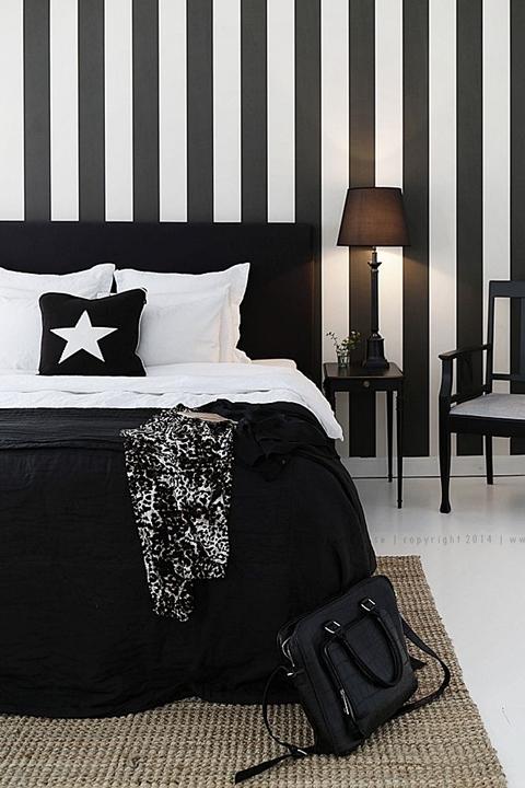 20 habitaciones en blanco y negro que te enloquecer n - Dormitorio negro y rojo ...