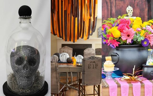 espeluznantes ideas de centros de mesa para Halloween0