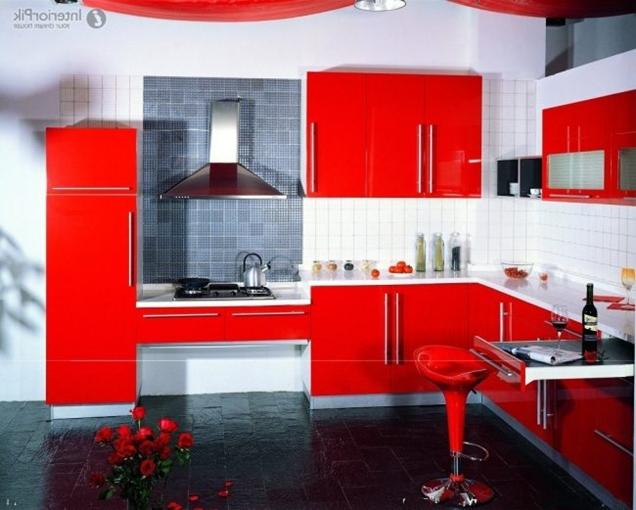 10 fotos de cocinas rojas e ideas de combinaciones - Cocinas rojas y blancas ...