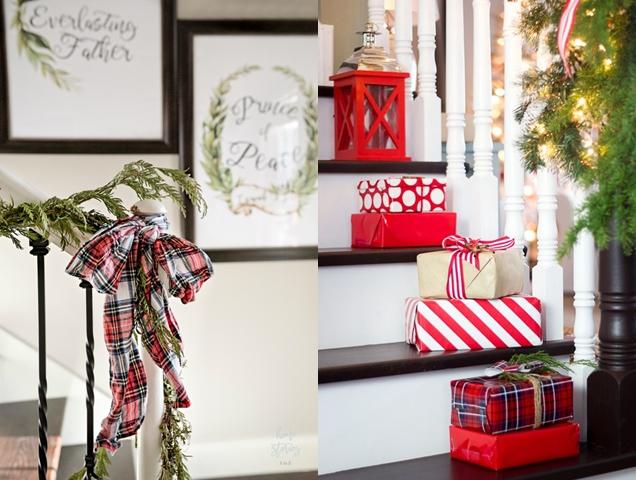 decoracion navidena para la escalera