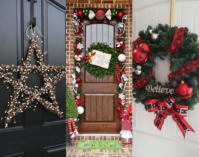 20 decoraciones navide as para la puerta de entrada for Decoracion de la puerta de entrada