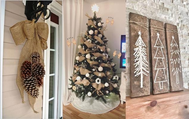 ideas de decoración rústica para Navidad