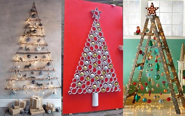arbol de Navidad con material reciclado para la pared