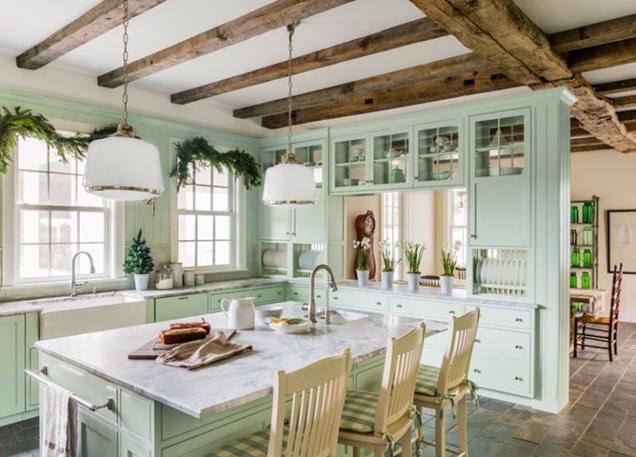 combinar gabinetes de cocina verdes